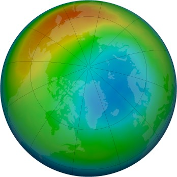 Arctic ozone map for 2002-12